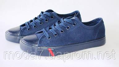 Женские подростковые кеды синие под Converse реплика