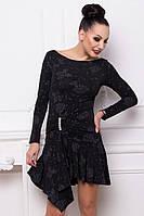 Donna-M Платье Кадриль лодочка (черный блеск цветы) 10112, фото 1