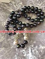 Ожерелье из чёрного с фиолетовым отливом морского жемчуга Таити