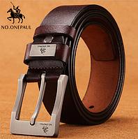 Кожаный мужской ремень No.Onepaul ZDK333 - Coffee