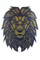 """Картина из металла лев -  """"Аслан"""" (черный мат + римское золото). Декоративное панно на стену."""