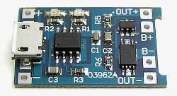 TP4056 контроллер заряда 5V 1A с функцией защиты аккумулятора