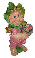 Садовая фигура полистоун Гном Цветочница розовое платье 56 см