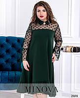 Женственное платье трапеция с вставками из сетки в горох с 50 по 60 размер, фото 1