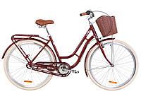 """Жіночий міський велосипед з багажником і кошиком DOROZHNIK CORAL AL PH 28""""(рубіновий), фото 1"""