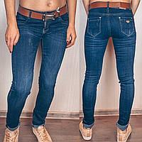Стильные женские  молодежные джинсы варенка с поясом царапки, фото 1