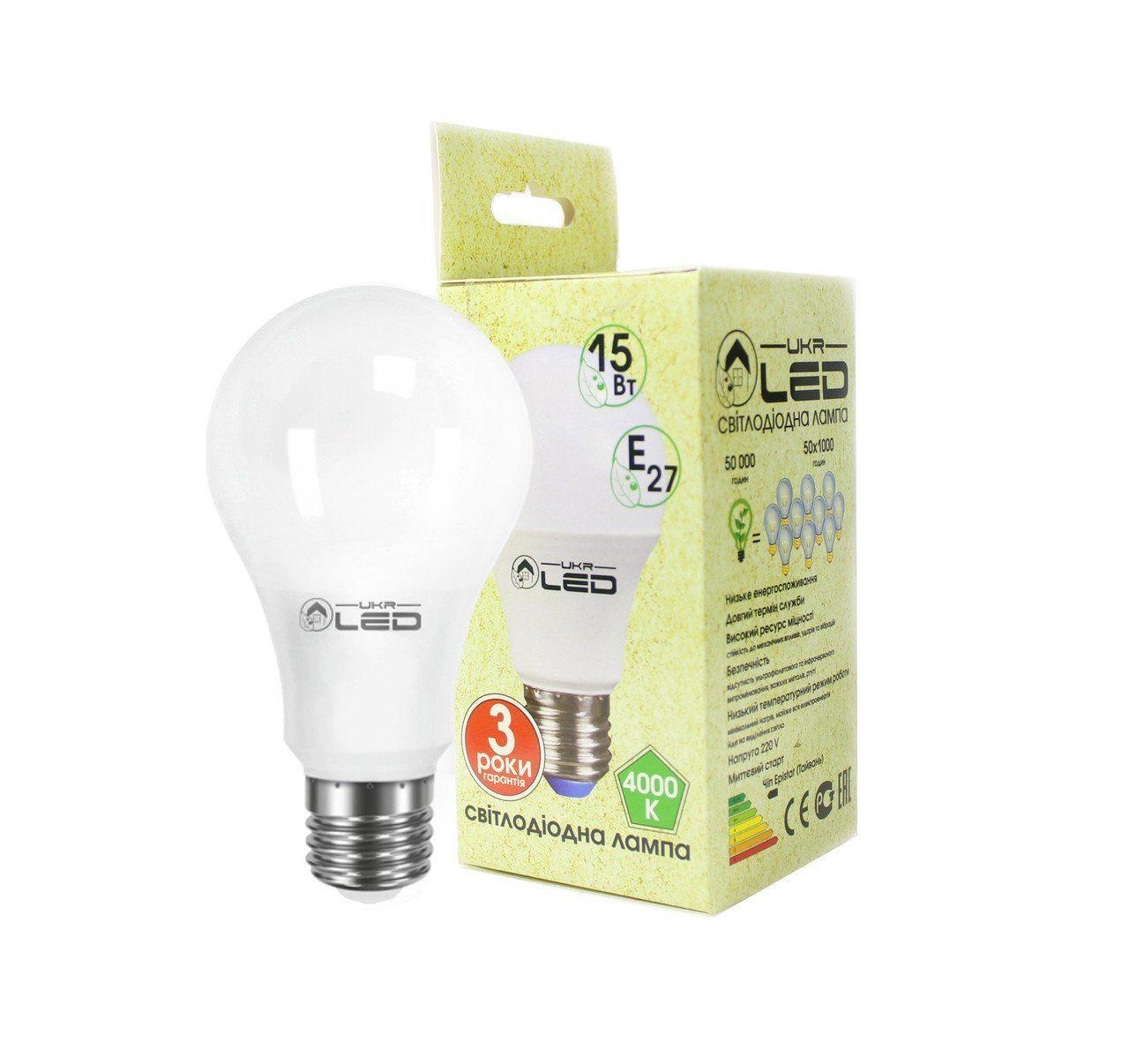 Светодиодная лампа UkrLed Е27 15W (груша) 4000k
