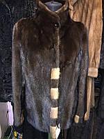 Красивая норковая шуба полушубок цельная скандинавская норка полушубок из норки 44 -46 размер., фото 1