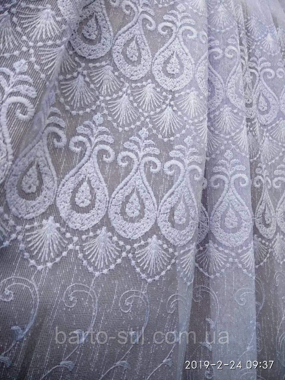 Белая гардина из льна с вышивкой Высота 2. 8 м