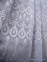 Белая гардина из льна с вышивкой Высота 2. 8 м, фото 1