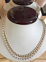 Колье из натурального белого жемчуга с золотом позолота медицинская сталь
