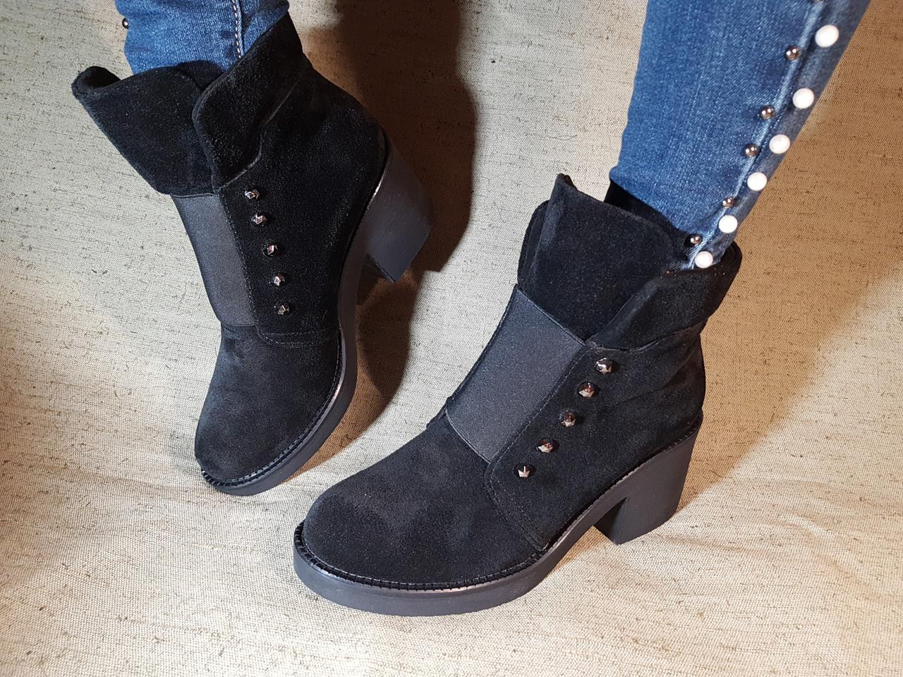 46df438c Ботинки из натуральной замши черного цвета, на удобном устойчивом каблуке