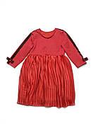 Нарядное платье с юбкой-плиссе на  3 — 7 лет, красный