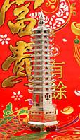 Фен-шуй Пагода 9 ярусов, в серебряном цвете (h=26 см.)