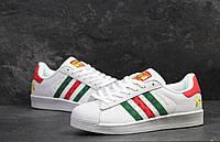 Кроссовки мужские белые с красным и зеленым Adidas Superstar 5451