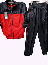 Мужской спортивный костюм из плащевки красно-синий комбинированный