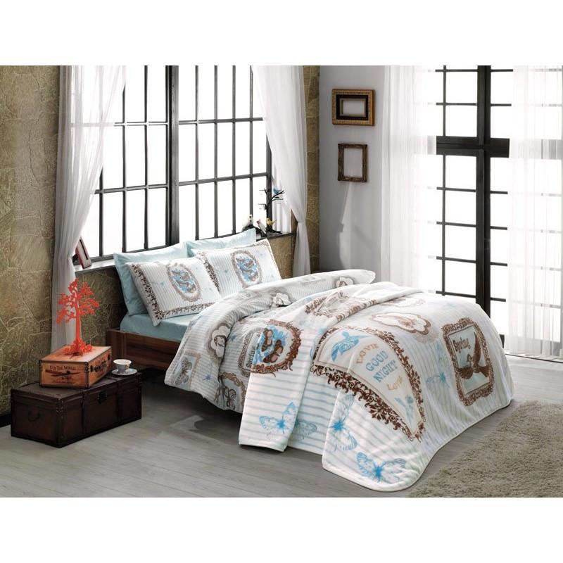 Набор постельного белья TAC ранфорс + плед - Camille v3 бирюзовый полуторный