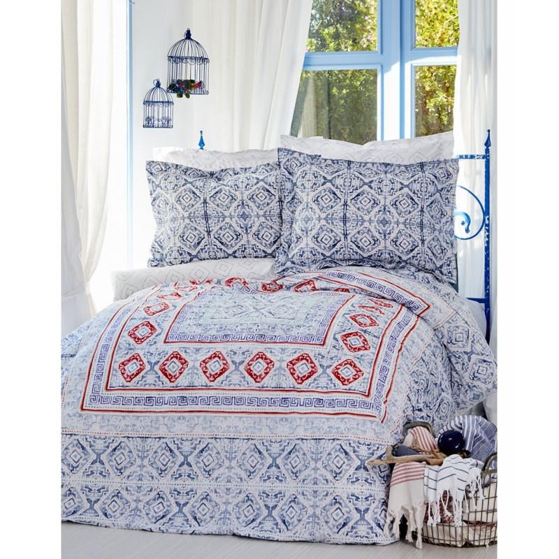 Постельное белье Karaca Home ранфорс - Savior blue 2017-2 голубой евро