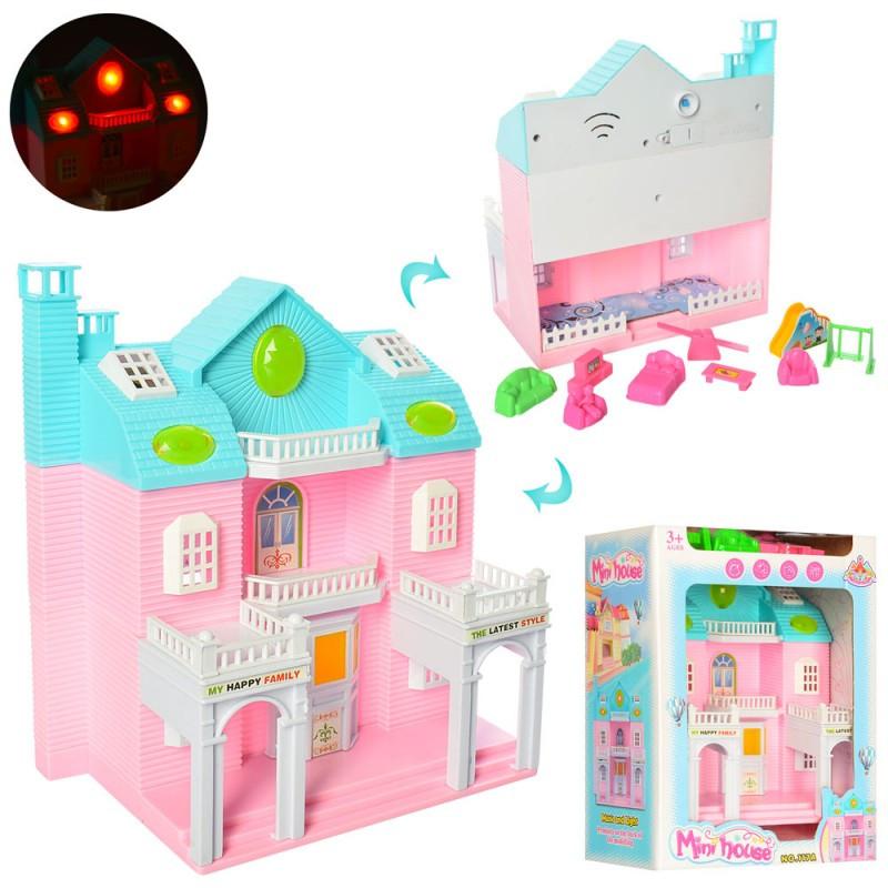 Будиночок 117A меблі, музичні ефекти, світло, на батарейки, в коробці, 20-27-12,5 см