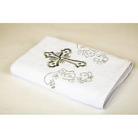 Крыжма Lotus вышивка - Белый с серебром 70*140 (16/1) 400 г/м²