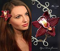 """Заколка цветок """"Бордовая орхидея"""" из полимерной глины"""