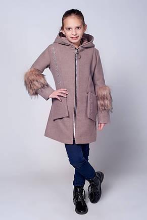 Детское красивое демисезонное пальто украшенное мехом., фото 2