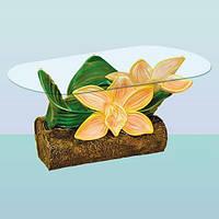 Журнальный стеклянный стол Орхидея, оригинальные журнальные столики