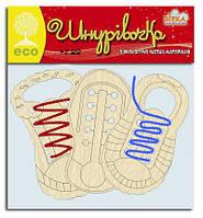 Детский набор для творчества Деревянная шнуровка Обувь