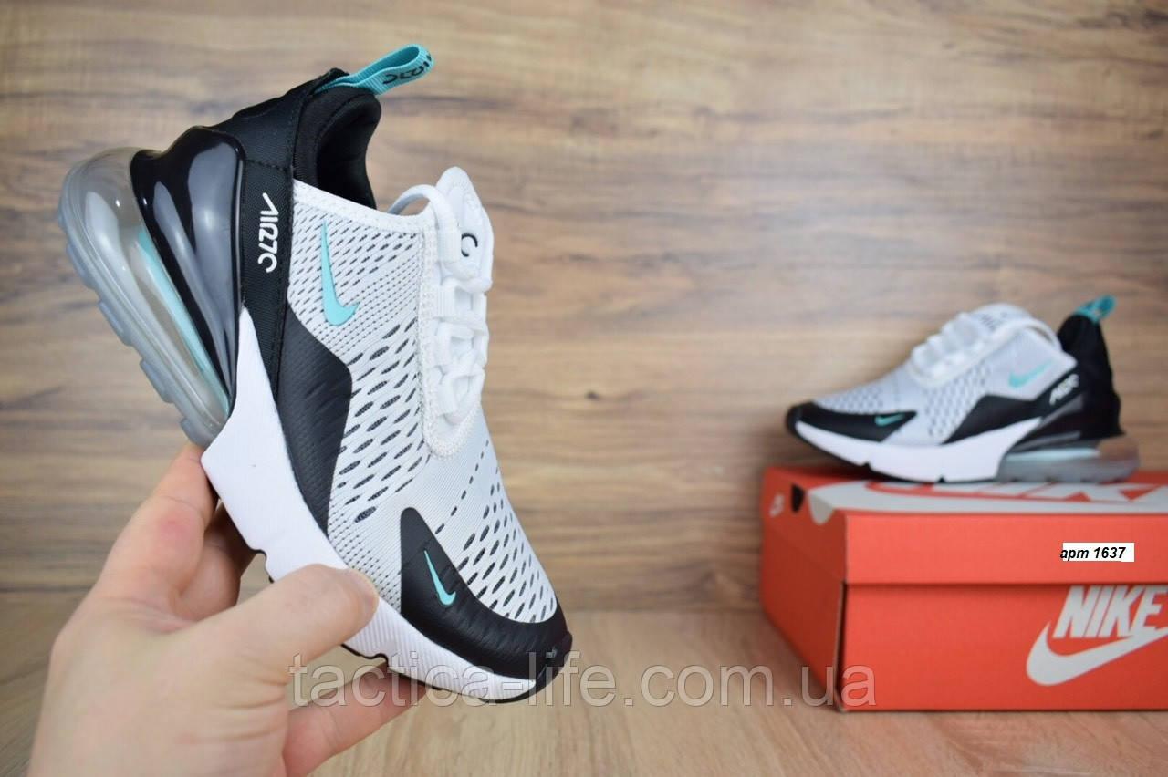 07eb0965 Мужские Кроссовки Nike Air Max 270 Белые с Черным Сетка (ТОП Реплика ...