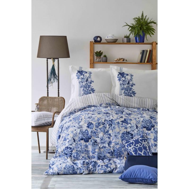 Постельное белье Karaca Home ранфорс - Melanie indigo 2018-2 синий евро