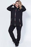Женский спортивный костюм из двунитки батал 44360 ( 50–60р) черный