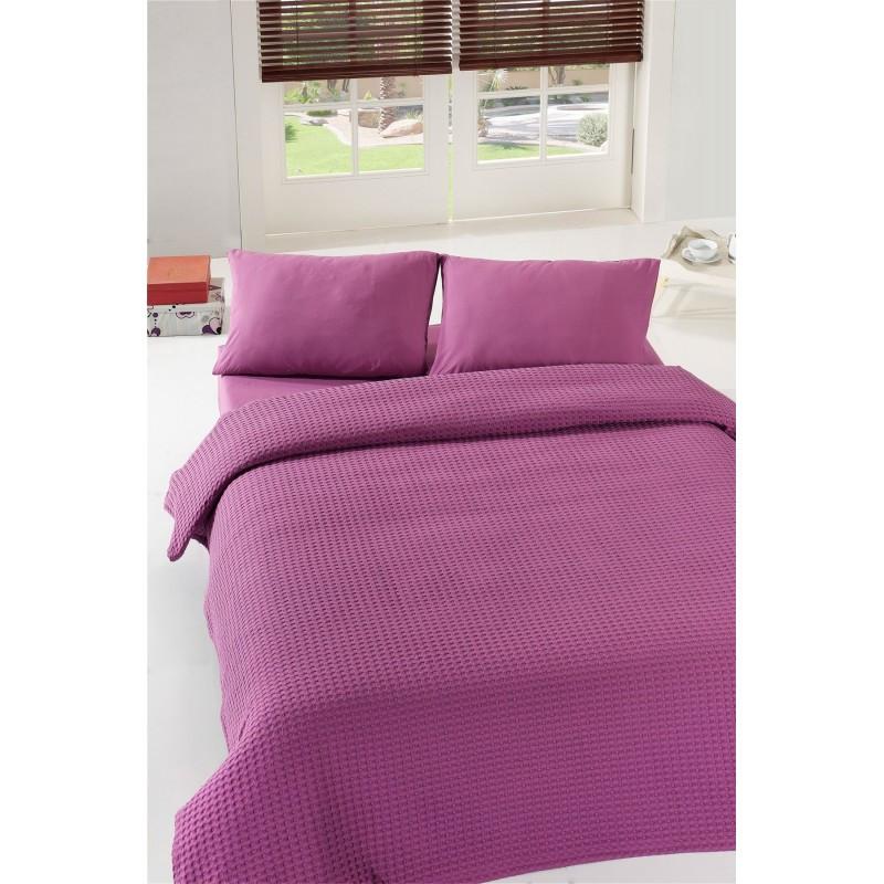 Покрывало пике Eponj Home - Burumcuk murdum фиолетовый вафельное 200*235