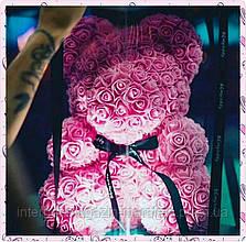 Мишка из Роз 25 см., в подарочной упаковке, мишка из цветов/ розовый, красный