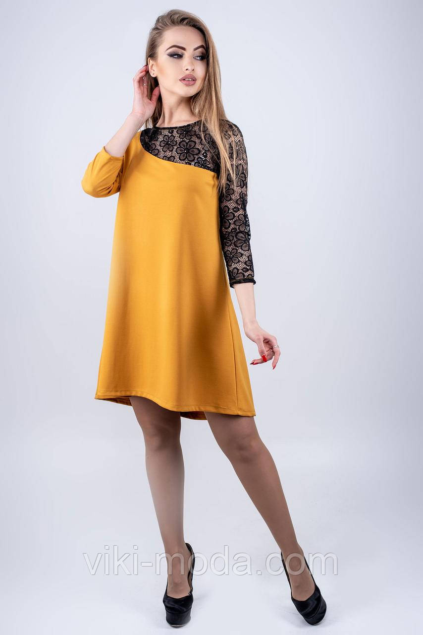 Клешеное платье Сакура горчичного цвета