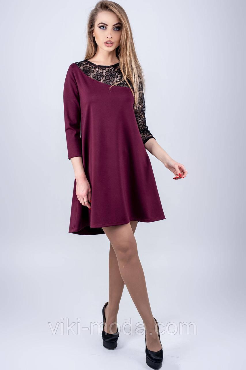Клешеное платье Сакура бордового цвета
