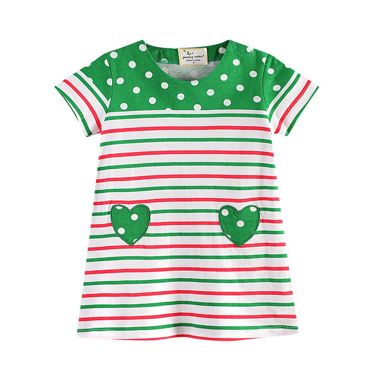 Платье для девочки Зеленое сердце Jumping Meters