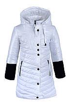 Стильная весенняя длинная куртка для девочки с капюшоном 92-128