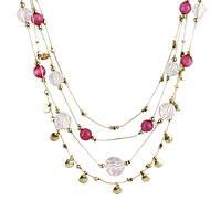Многослойное ожерелье из горного хрусталя с позолотой