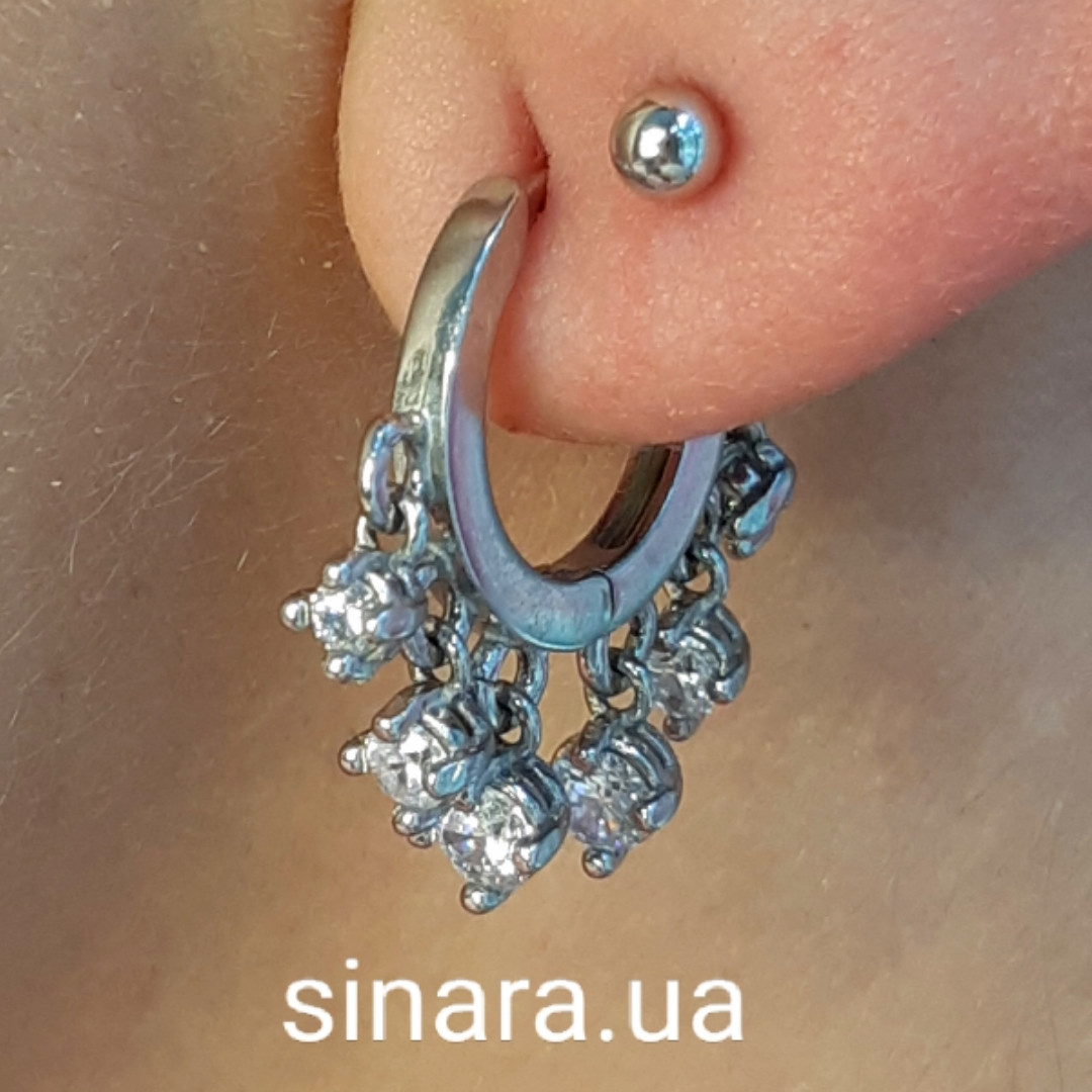 Моносерьга серебряная - Серебряная серьга на одно ухо - Серьги серебро 925