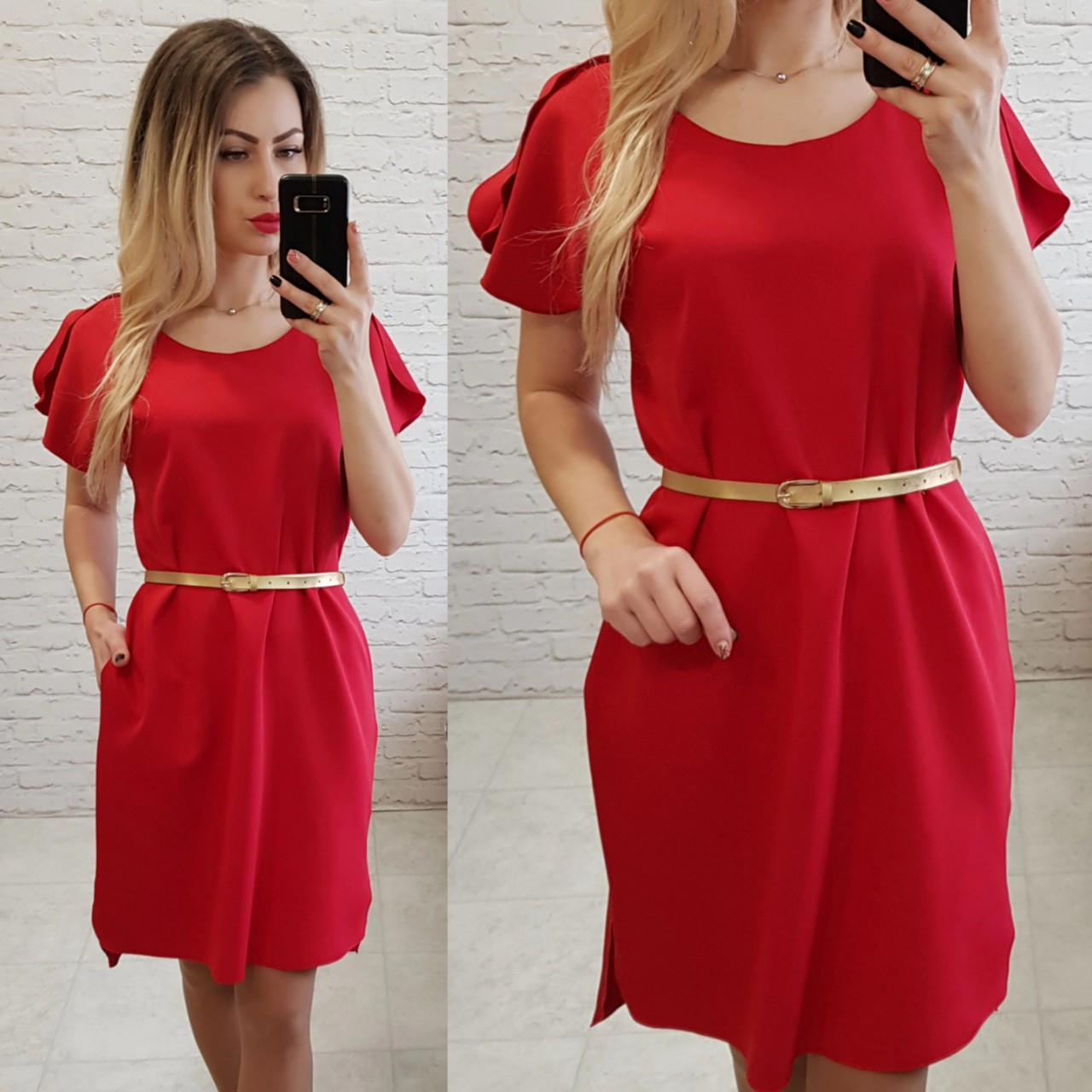 Платье с карманами и поясом( арт. 815), цвет красный