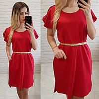 Платье с карманами и поясом( арт. 815), цвет красный, фото 1