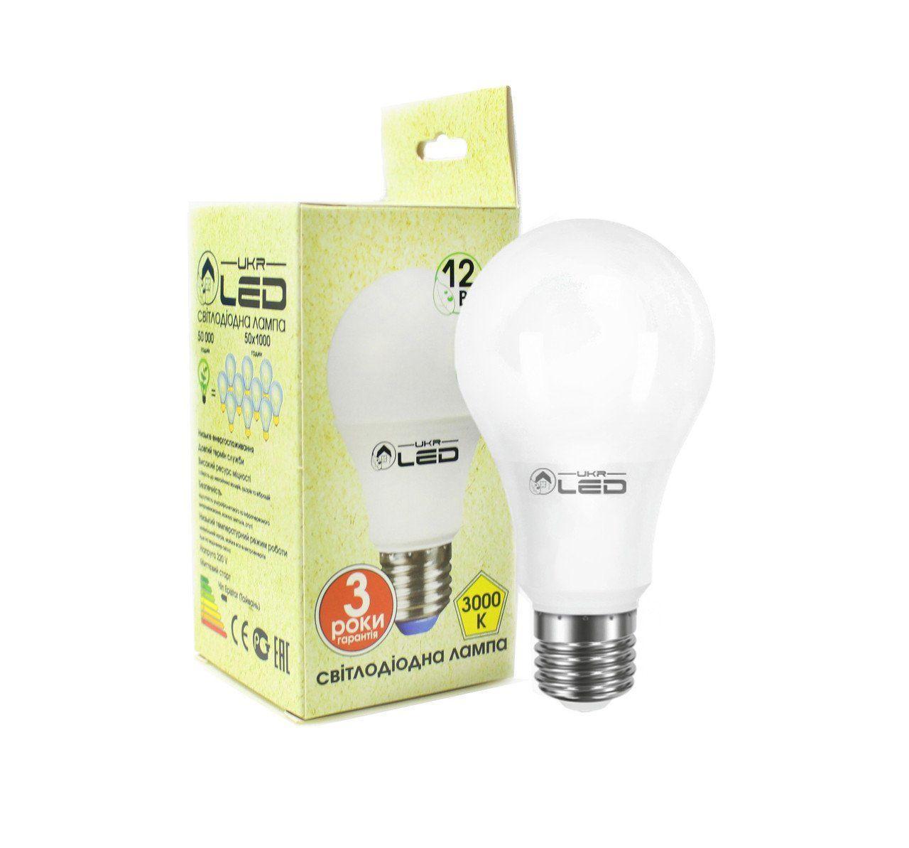 Светодиодная лампа UkrLed Е27 12W (груша) 4000К