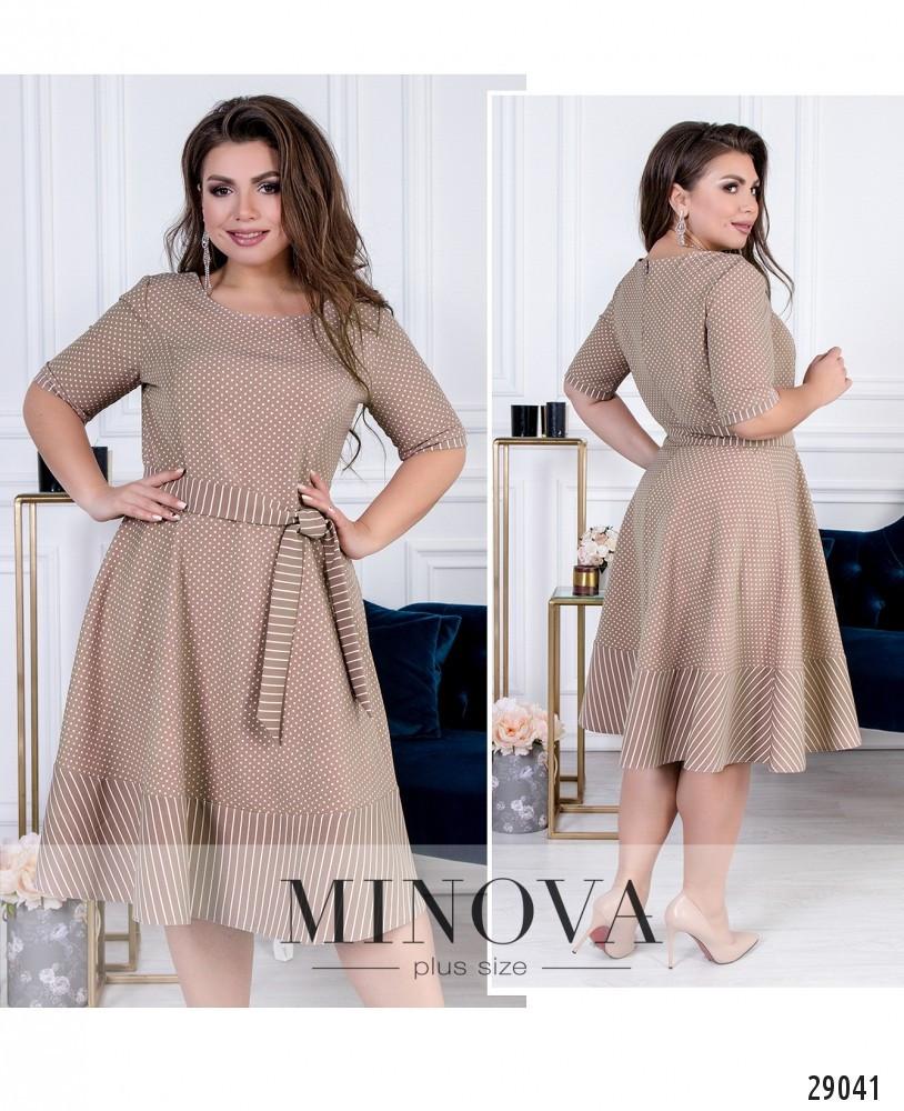 Приталенное платье с короткими рукавами в нежный горошек раз. 50-56