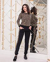 Женский трикотажный костюм с леопардовым принтом, фото 1
