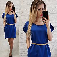 Платье с карманами и поясом( арт. 815), цвет электрик, фото 1