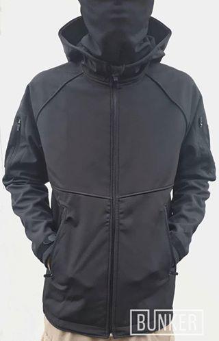 Тактическая куртка софтшел Softshell Sport black черная