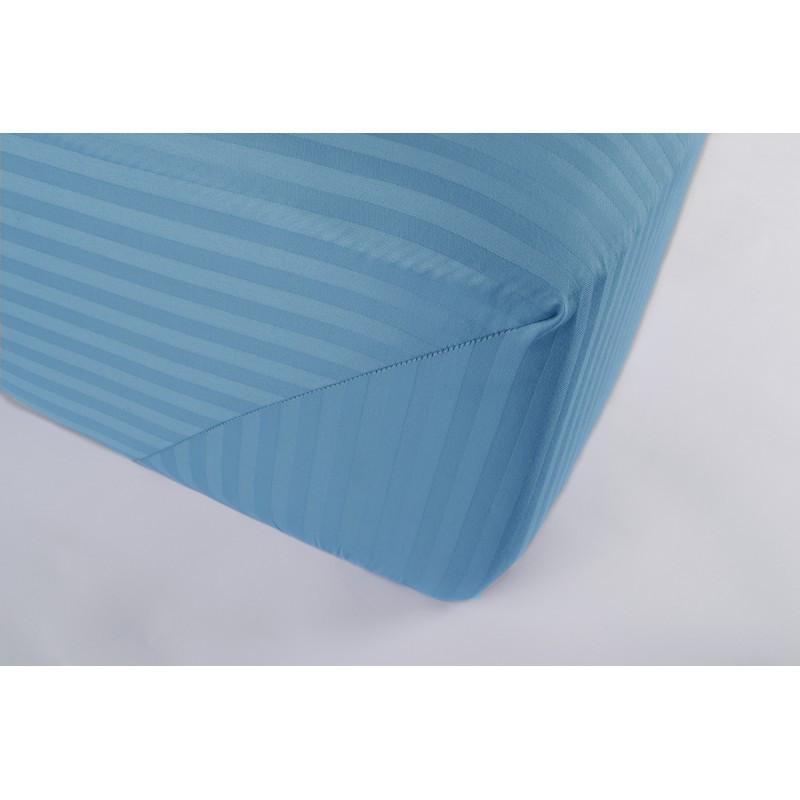 Простынь Lotus Отель - Сатин Страйп 1*1 голубой Турция 160*200*25 на резинке