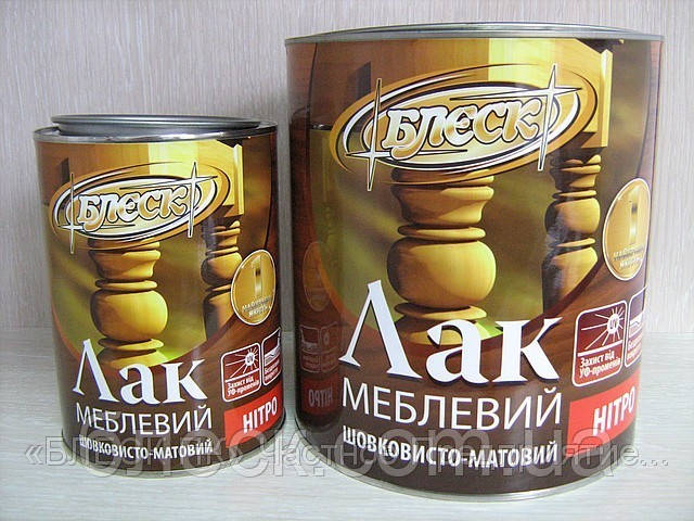 """Лак меблевий НЦ-243 шовковисто-матовий """"БЛИСК"""" 0,8 кг (ж/б 1л)"""