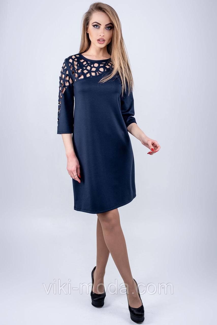 Стильное платье Луиза прямого силуэта, синего цвета