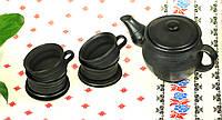 """Чайный сервиз Гаварецкая чернодымная керамика  """"Украинский стиль"""", чайный сервиз черной керамики на 4 персоны"""